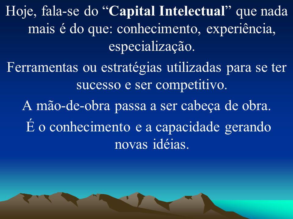 Hoje, fala-se do Capital Intelectual que nada mais é do que: conhecimento, experiência, especialização. Ferramentas ou estratégias utilizadas para se