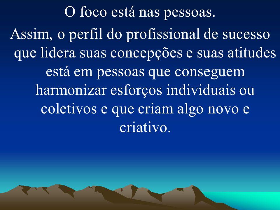 O foco está nas pessoas. Assim, o perfil do profissional de sucesso que lidera suas concepções e suas atitudes está em pessoas que conseguem harmoniza