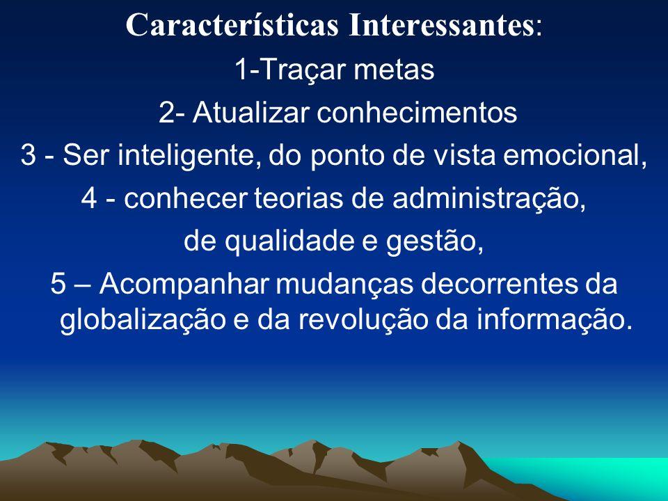 Características Interessantes : 1-Traçar metas 2- Atualizar conhecimentos 3 - Ser inteligente, do ponto de vista emocional, 4 - conhecer teorias de ad