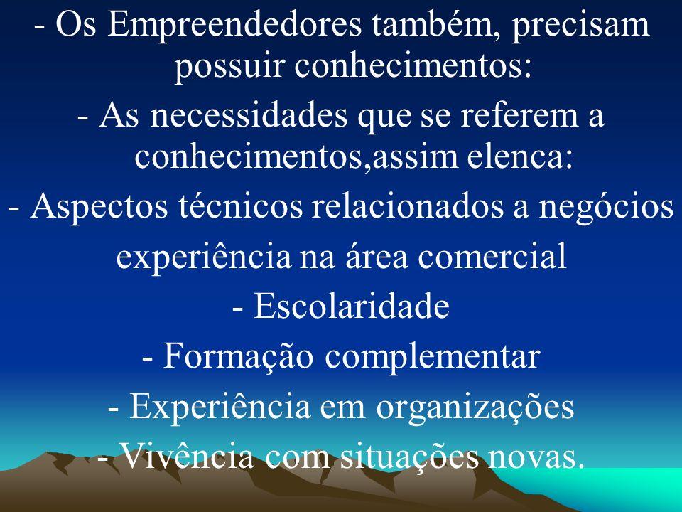 - Os Empreendedores também, precisam possuir conhecimentos: - As necessidades que se referem a conhecimentos,assim elenca: - Aspectos técnicos relacio