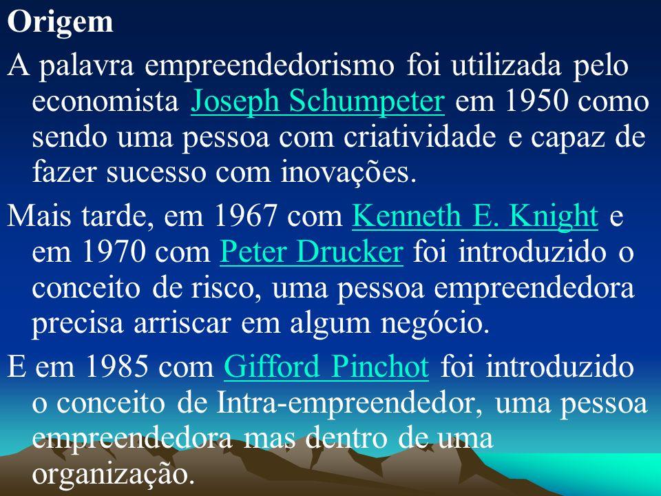 Origem A palavra empreendedorismo foi utilizada pelo economista Joseph Schumpeter em 1950 como sendo uma pessoa com criatividade e capaz de fazer sucesso com inovações.Joseph Schumpeter Mais tarde, em 1967 com Kenneth E.