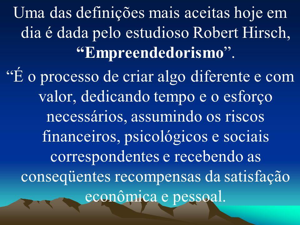 Uma das definições mais aceitas hoje em dia é dada pelo estudioso Robert Hirsch, Empreendedorismo.