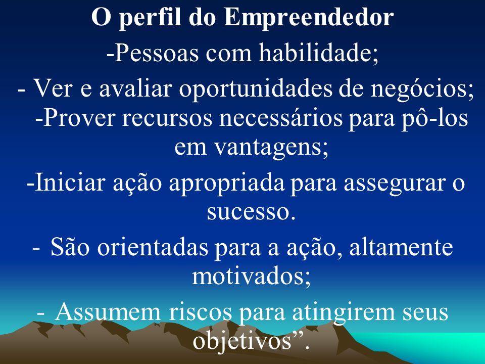 O perfil do Empreendedor -Pessoas com habilidade; - Ver e avaliar oportunidades de negócios; -Prover recursos necessários para pô-los em vantagens; -Iniciar ação apropriada para assegurar o sucesso.