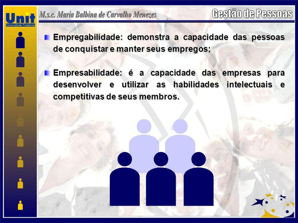 Empregabilidade: demonstra a capacidade das pessoas de conquistar e manter seus empregos; Empresabilidade: é a capacidade das empresas para desenvolve