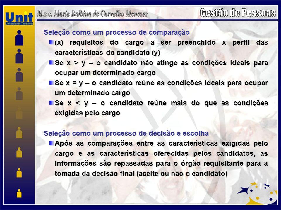 Seleção como um processo de comparação (x) requisitos do cargo a ser preenchido x perfil das características do candidato (y) Se x > y – o candidato n