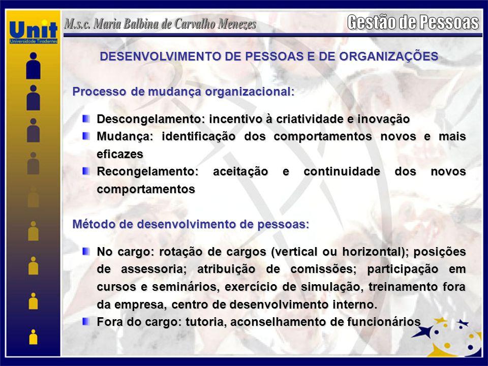 DESENVOLVIMENTO DE PESSOAS E DE ORGANIZAÇÕES Processo de mudança organizacional: Descongelamento: incentivo à criatividade e inovação Mudança: identificação dos comportamentos novos e mais eficazes Recongelamento: aceitação e continuidade dos novos comportamentos Método de desenvolvimento de pessoas: No cargo: rotação de cargos (vertical ou horizontal); posições de assessoria; atribuição de comissões; participação em cursos e seminários, exercício de simulação, treinamento fora da empresa, centro de desenvolvimento interno.