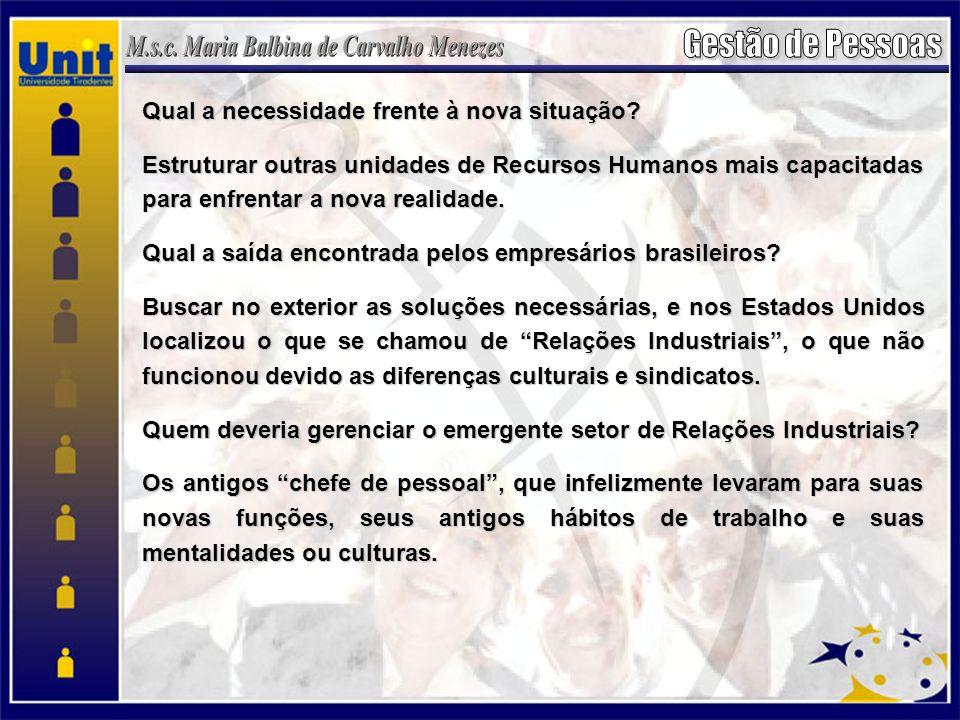 Brasil década de 70 a 80 modernização das empresas sujeitaram de um lado, habilidades mais especificas dos trabalhadores e, de outro, alterações na forma de gerenciamento do pessoal, a exemplo de: treinamento e desenvolvimento de pessoal, cargos, salários e benefícios, onde os indivíduos passaram a serem reconhecidos menos como insumos produtivos.