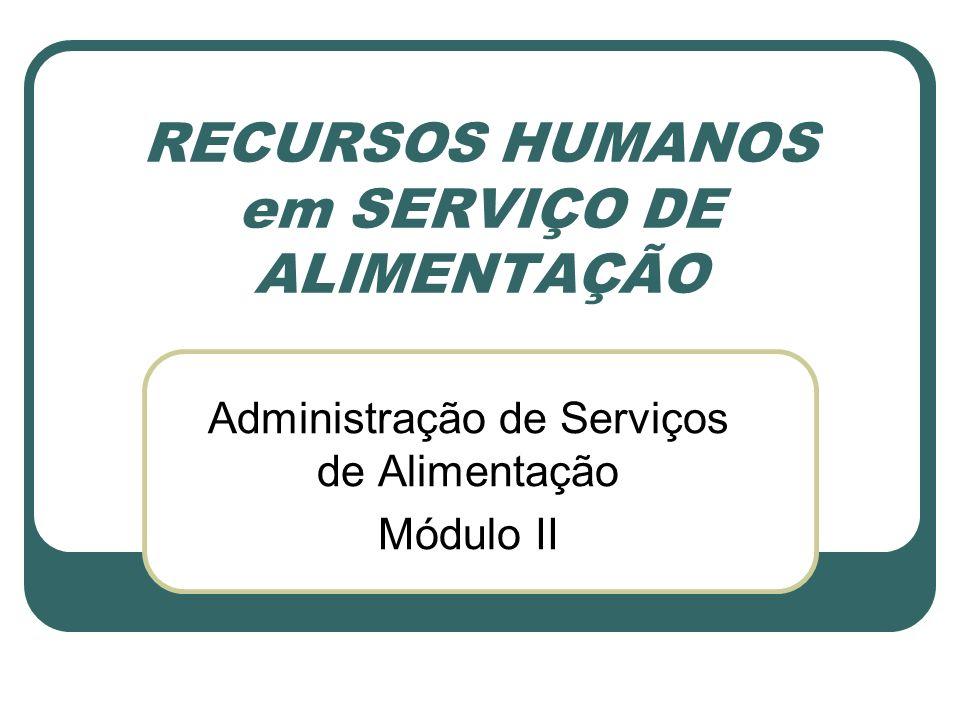 RECURSOS HUMANOS em SERVIÇO DE ALIMENTAÇÃO Administração de Serviços de Alimentação Módulo II
