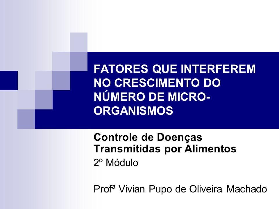 FATORES QUE INTERFEREM NO CRESCIMENTO DO NÚMERO DE MICRO- ORGANISMOS Controle de Doenças Transmitidas por Alimentos 2º Módulo Profª Vivian Pupo de Oli