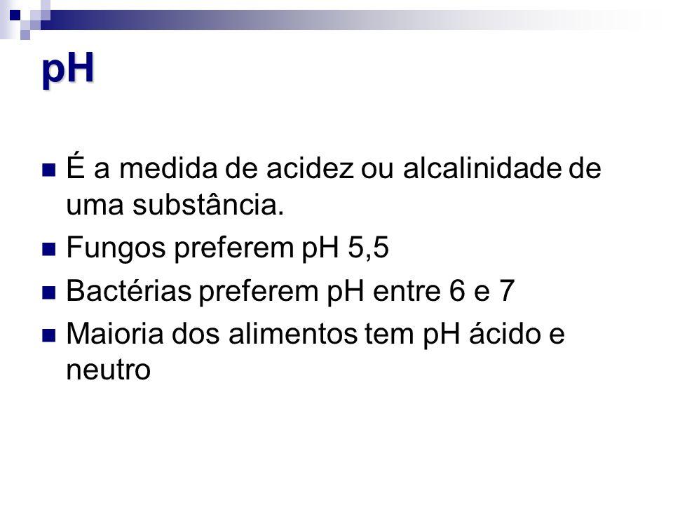pH É a medida de acidez ou alcalinidade de uma substância. Fungos preferem pH 5,5 Bactérias preferem pH entre 6 e 7 Maioria dos alimentos tem pH ácido
