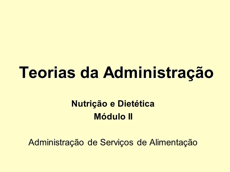 Teorias da Administração Nutrição e Dietética Módulo II Administração de Serviços de Alimentação