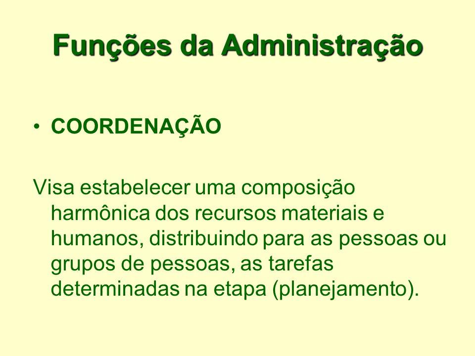 Funções da Administração COORDENAÇÃO Visa estabelecer uma composição harmônica dos recursos materiais e humanos, distribuindo para as pessoas ou grupo