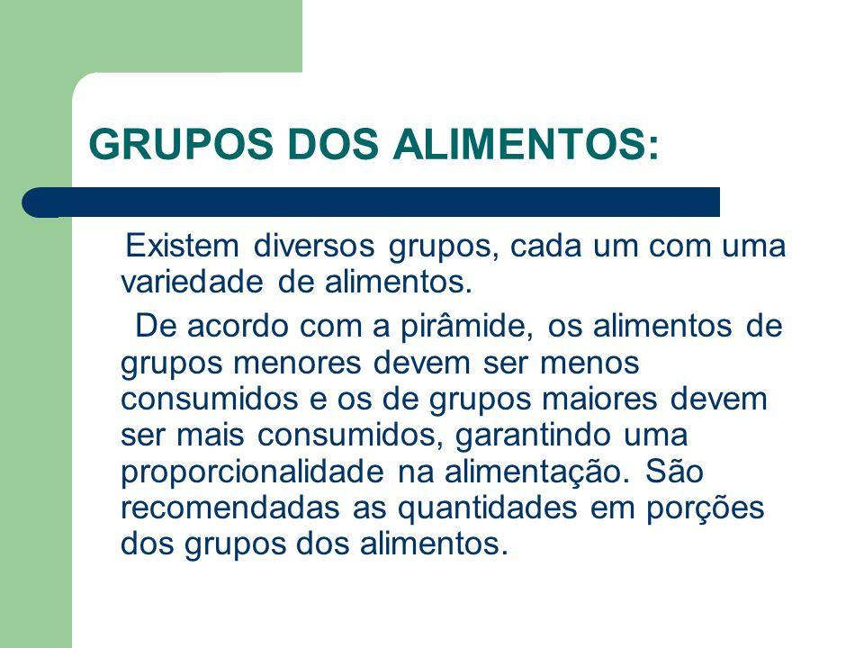 GRUPOS DOS ALIMENTOS: Existem diversos grupos, cada um com uma variedade de alimentos. De acordo com a pirâmide, os alimentos de grupos menores devem