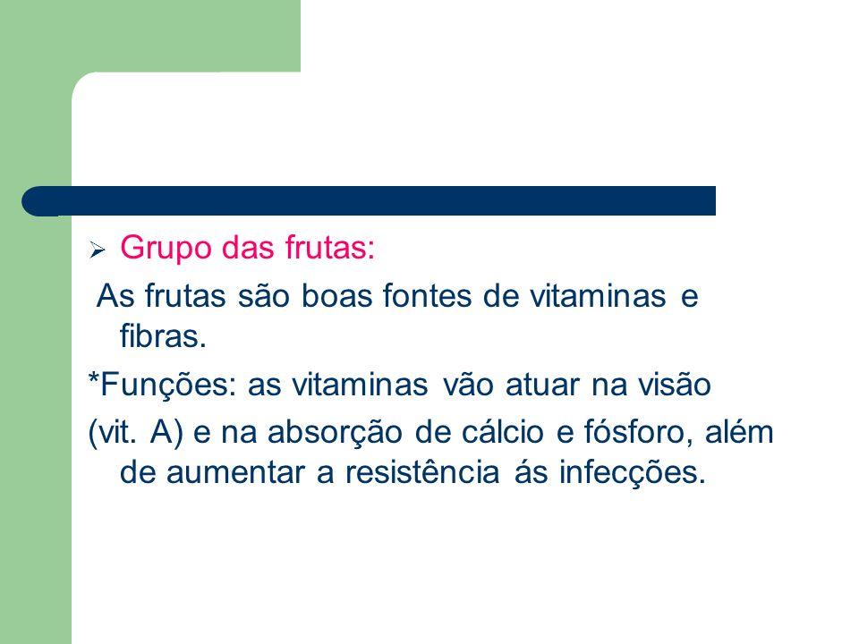 Grupo das frutas: As frutas são boas fontes de vitaminas e fibras. *Funções: as vitaminas vão atuar na visão (vit. A) e na absorção de cálcio e fósfor