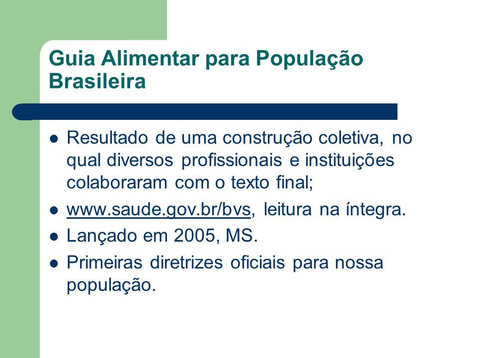 Guia Alimentar para População Brasileira Resultado de uma construção coletiva, no qual diversos profissionais e instituições colaboraram com o texto f