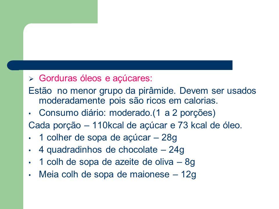 Gorduras óleos e açúcares: Estão no menor grupo da pirâmide. Devem ser usados moderadamente pois são ricos em calorias. Consumo diário: moderado.(1 a