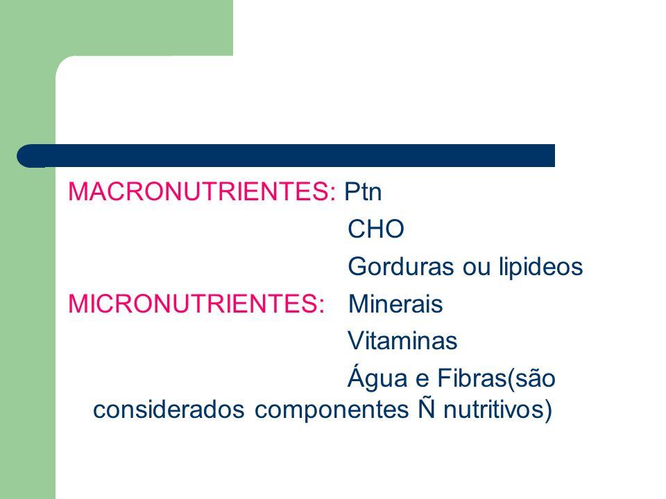 MACRONUTRIENTES: Ptn CHO Gorduras ou lipideos MICRONUTRIENTES: Minerais Vitaminas Água e Fibras(são considerados componentes Ñ nutritivos)