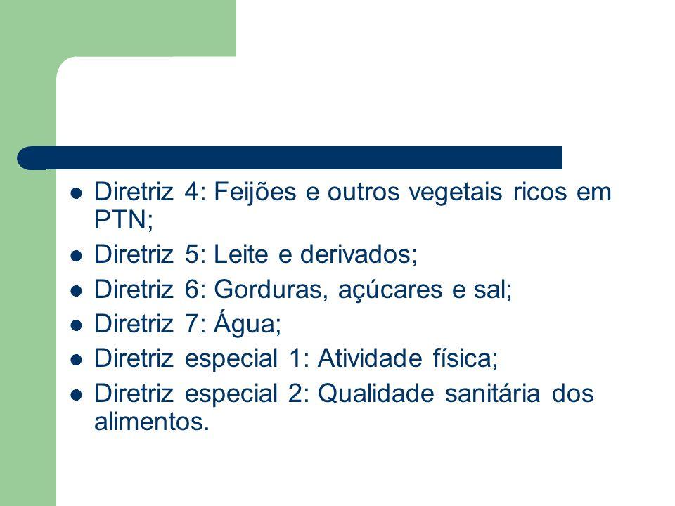 Diretriz 4: Feijões e outros vegetais ricos em PTN; Diretriz 5: Leite e derivados; Diretriz 6: Gorduras, açúcares e sal; Diretriz 7: Água; Diretriz es