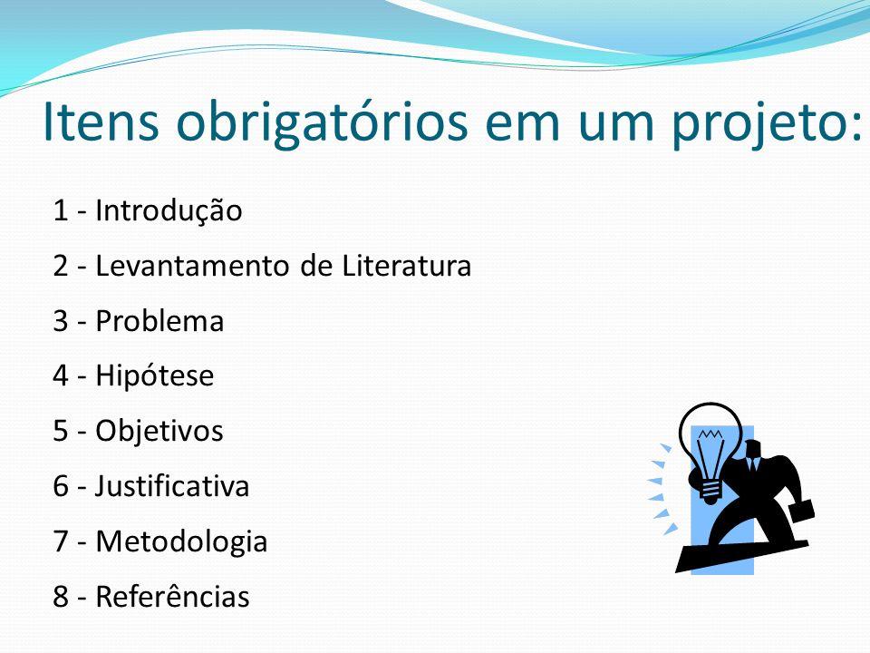 Itens obrigatórios em um projeto: 1 - Introdução 2 - Levantamento de Literatura 3 - Problema 4 - Hipótese 5 - Objetivos 6 - Justificativa 7 - Metodolo