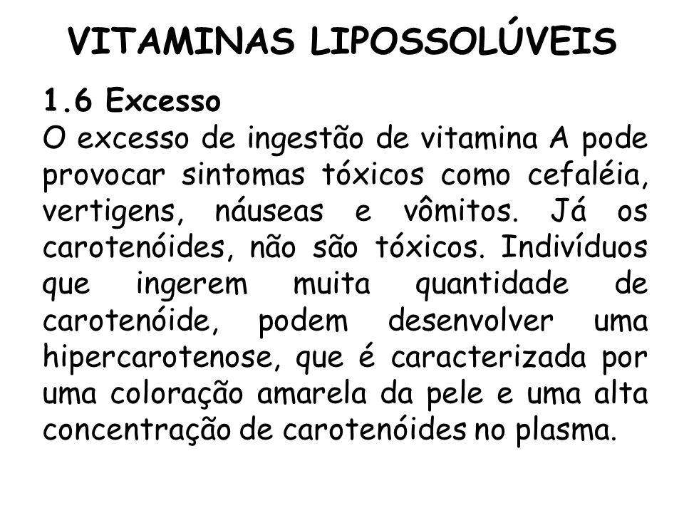 VITAMINAS LIPOSSOLÚVEIS 1.6 Excesso O excesso de ingestão de vitamina A pode provocar sintomas tóxicos como cefaléia, vertigens, náuseas e vômitos. Já