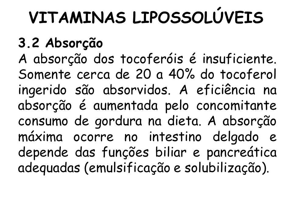 VITAMINAS LIPOSSOLÚVEIS 3.2 Absorção A absorção dos tocoferóis é insuficiente. Somente cerca de 20 a 40% do tocoferol ingerido são absorvidos. A efici