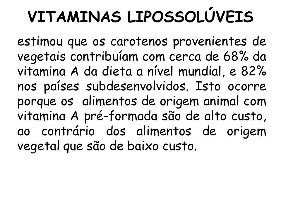VITAMINAS LIPOSSOLÚVEIS estimou que os carotenos provenientes de vegetais contribuíam com cerca de 68% da vitamina A da dieta a nível mundial, e 82% n