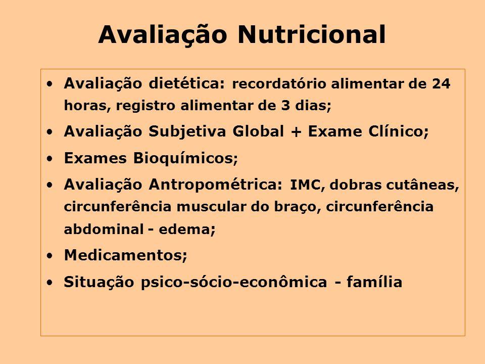 Avaliação Nutricional Avaliação dietética: recordatório alimentar de 24 horas, registro alimentar de 3 dias; Avaliação Subjetiva Global + Exame Clínic