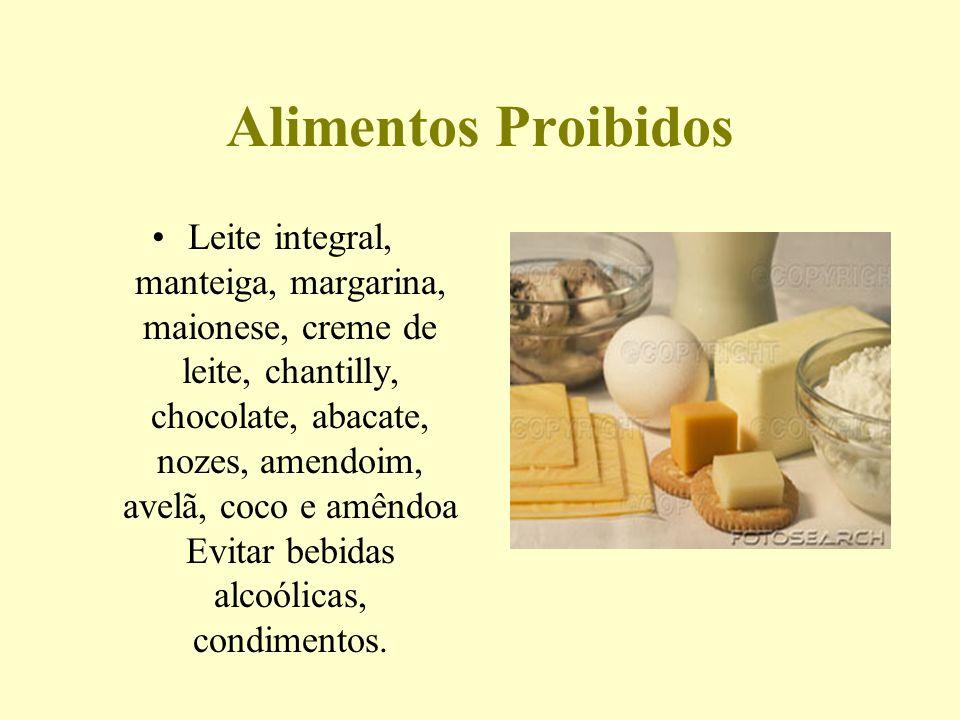 Alimentos Proibidos Leite integral, manteiga, margarina, maionese, creme de leite, chantilly, chocolate, abacate, nozes, amendoim, avelã, coco e amênd