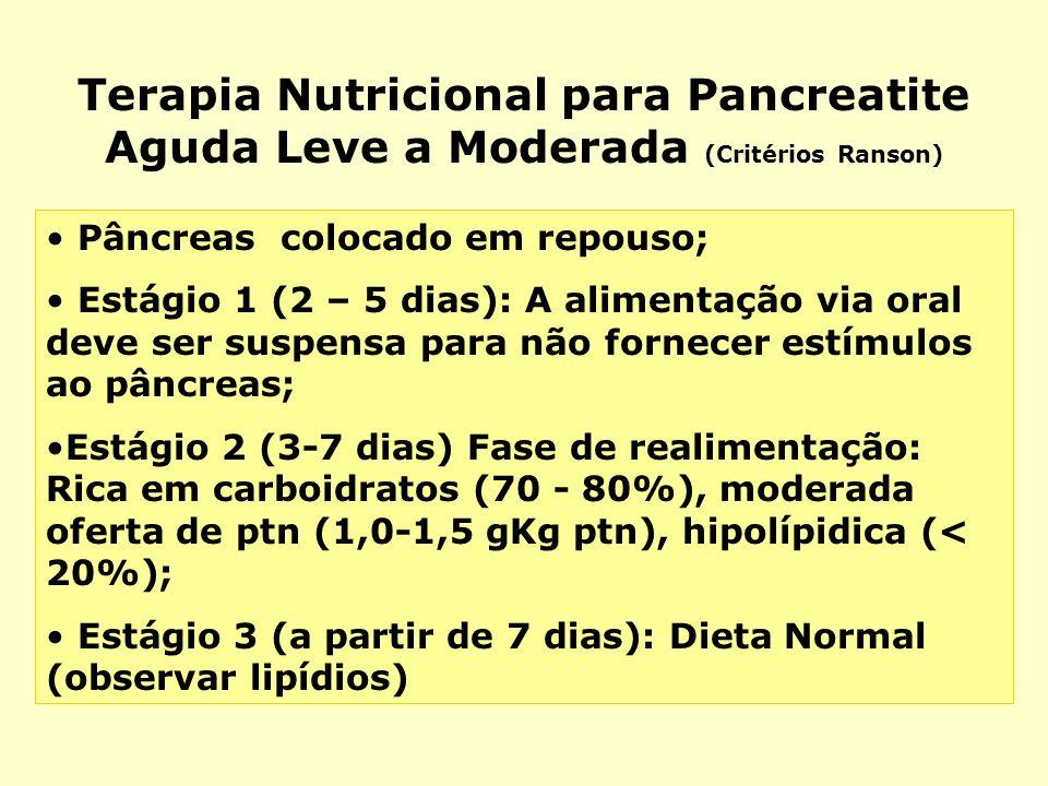 Terapia Nutricional para Pancreatite Aguda Leve a Moderada (Critérios Ranson) Pâncreas colocado em repouso; Estágio 1 (2 – 5 dias): A alimentação via