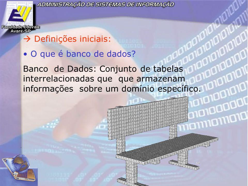 Definições iniciais: O que é banco de dados? Banco de Dados: Conjunto de tabelas interrelacionadas que que armazenam informações sobre um domínio espe