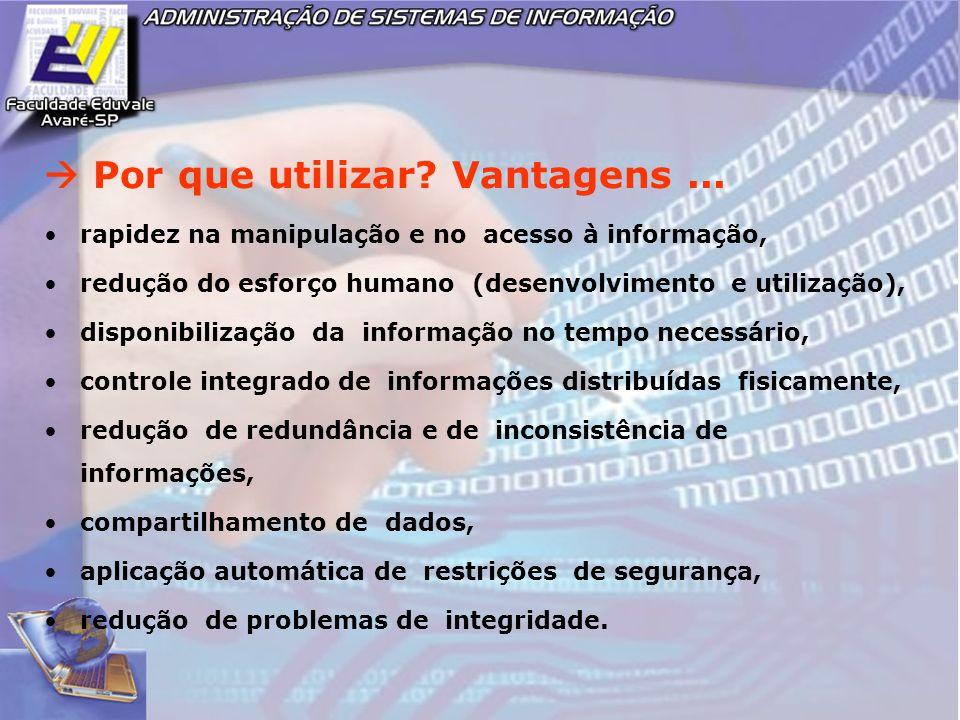 Por que utilizar? Vantagens... rapidez na manipulação e no acesso à informação, redução do esforço humano (desenvolvimento e utilização), disponibiliz