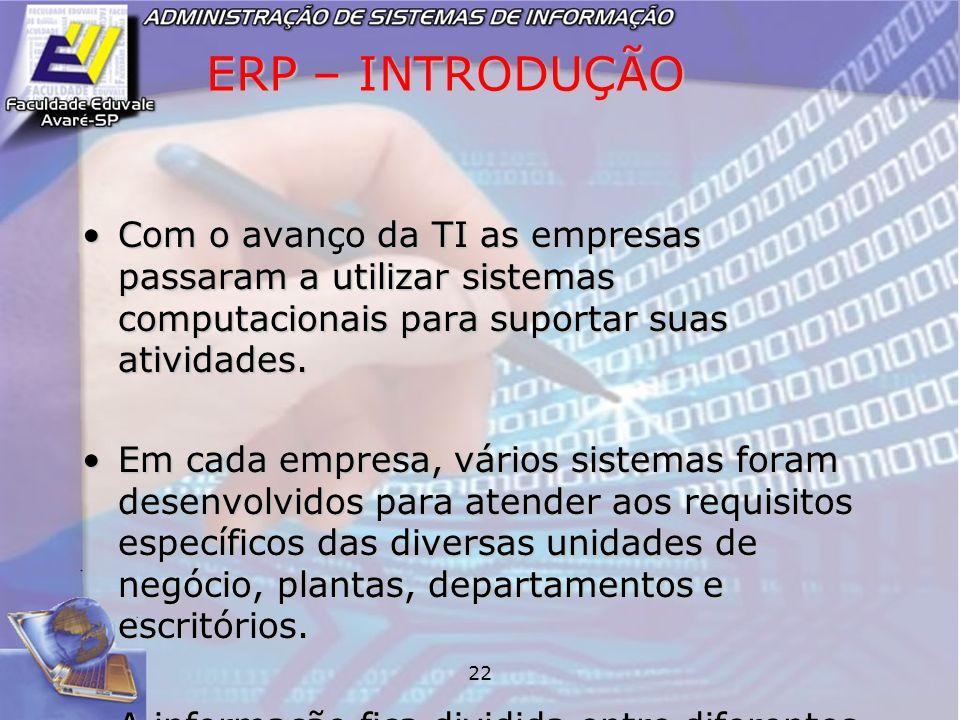 22 ERP – INTRODUÇÃO Com o avanço da TI as empresas passaram a utilizar sistemas computacionais para suportar suas atividades.Com o avanço da TI as emp