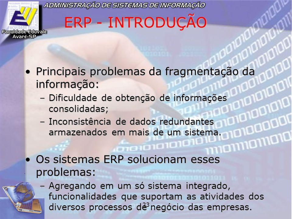 23 ERP - INTRODUÇÃO Principais problemas da fragmentação da informação:Principais problemas da fragmentação da informação: –Dificuldade de obtenção de