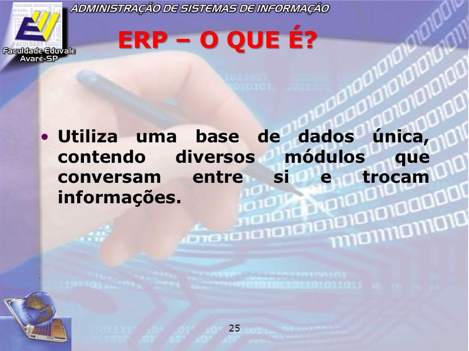 25 ERP – O QUE É? Utiliza uma base de dados única, contendo diversos módulos que conversam entre si e trocam informações.