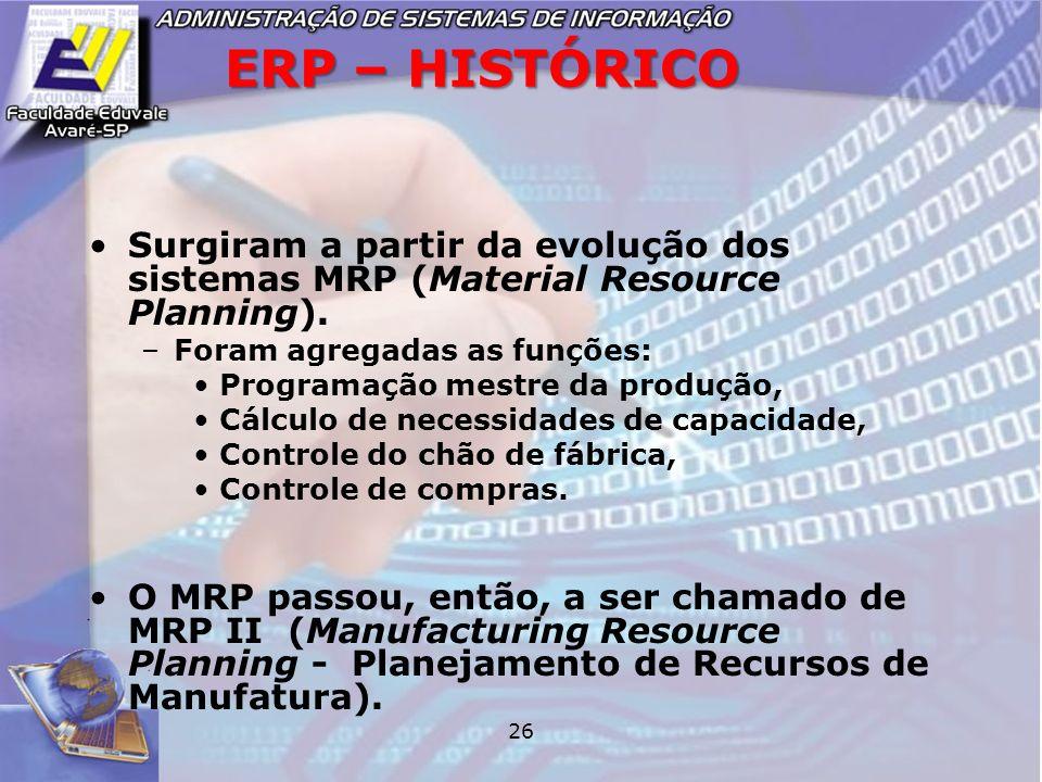 26 ERP – HISTÓRICO Surgiram a partir da evolução dos sistemas MRP (Material Resource Planning). –Foram agregadas as funções: Programação mestre da pro