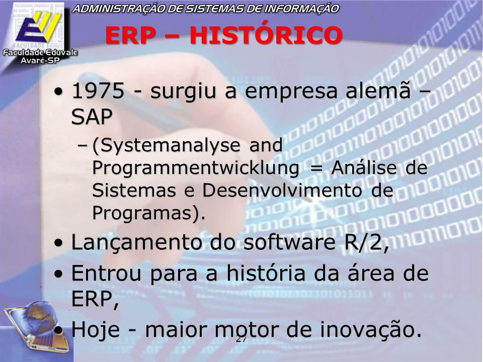 27 ERP – HISTÓRICO 1975 - surgiu a empresa alemã – SAP1975 - surgiu a empresa alemã – SAP –(Systemanalyse and Programmentwicklung = Análise de Sistema
