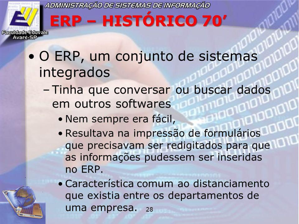 28 ERP – HISTÓRICO 70 O ERP, um conjunto de sistemas integrados –Tinha que conversar ou buscar dados em outros softwares Nem sempre era fácil, Resulta