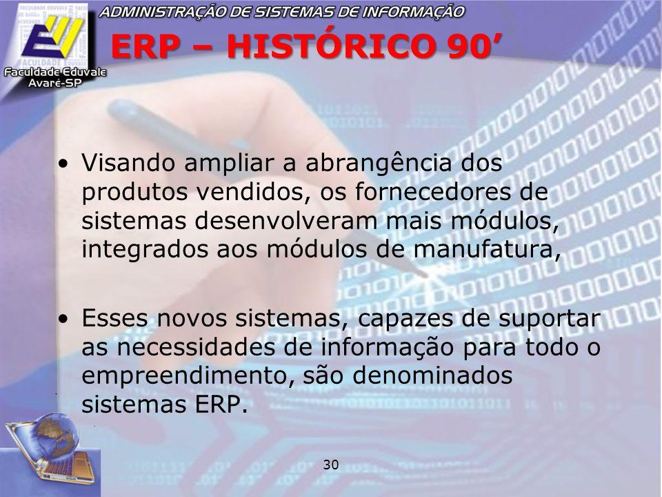 30 ERP – HISTÓRICO 90 Visando ampliar a abrangência dos produtos vendidos, os fornecedores de sistemas desenvolveram mais módulos, integrados aos módu