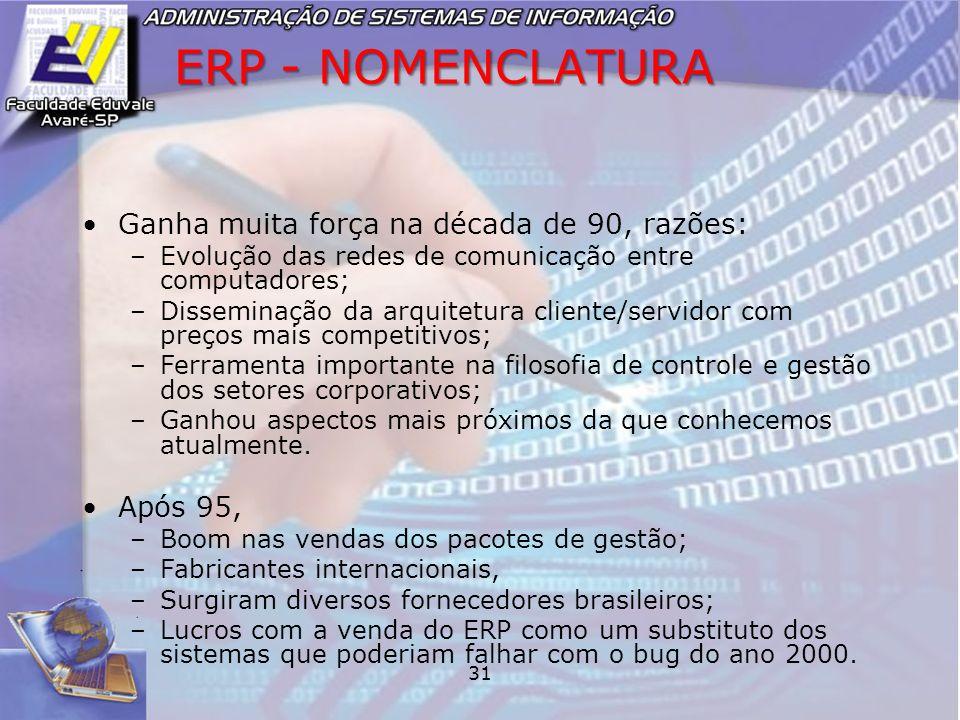 31 ERP - NOMENCLATURA Ganha muita força na década de 90, razões: –Evolução das redes de comunicação entre computadores; –Disseminação da arquitetura c
