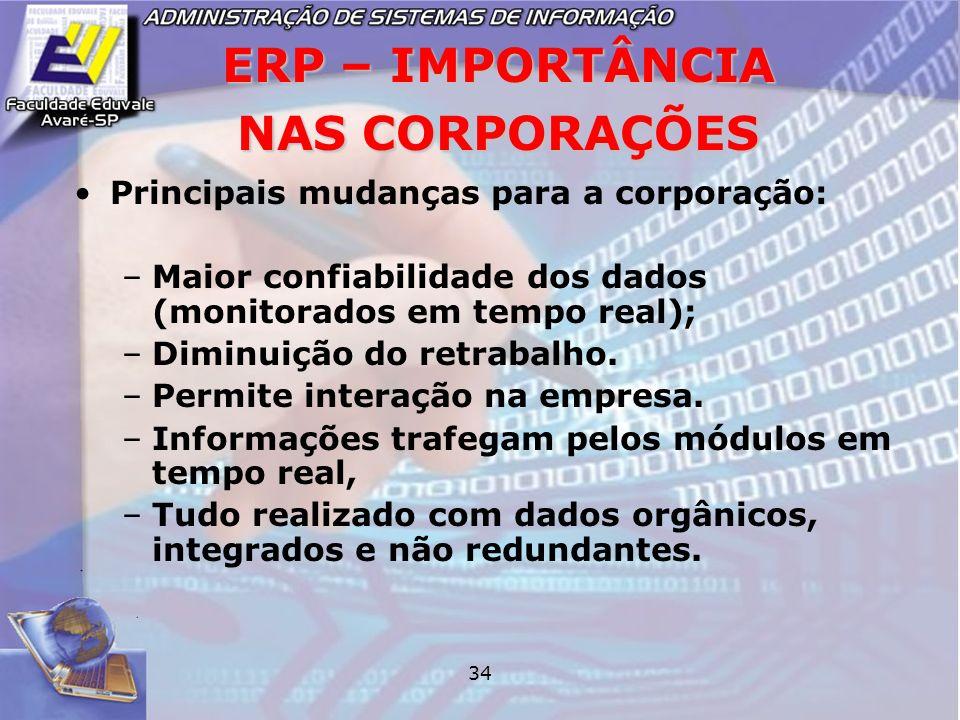 34 ERP – IMPORTÂNCIA NAS CORPORAÇÕES Principais mudanças para a corporação: –Maior confiabilidade dos dados (monitorados em tempo real); –Diminuição d