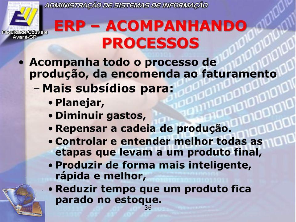 36 ERP – ACOMPANHANDO PROCESSOS Acompanha todo o processo de produção, da encomenda ao faturamento –Mais subsídios para: Planejar, Diminuir gastos, Re