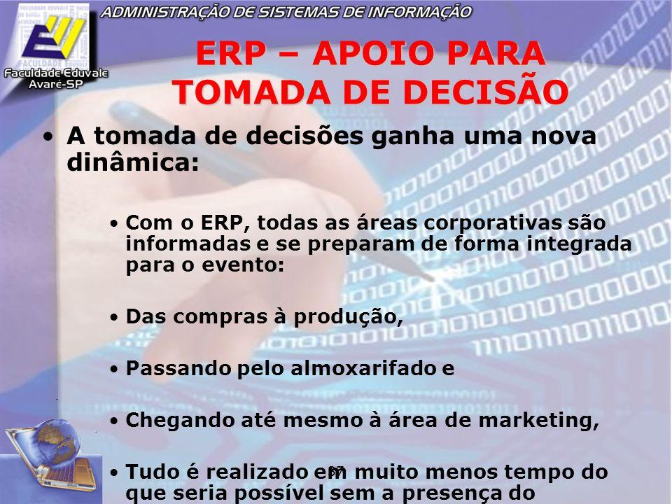 37 ERP – APOIO PARA TOMADA DE DECISÃO A tomada de decisões ganha uma nova dinâmica: Com o ERP, todas as áreas corporativas são informadas e se prepara