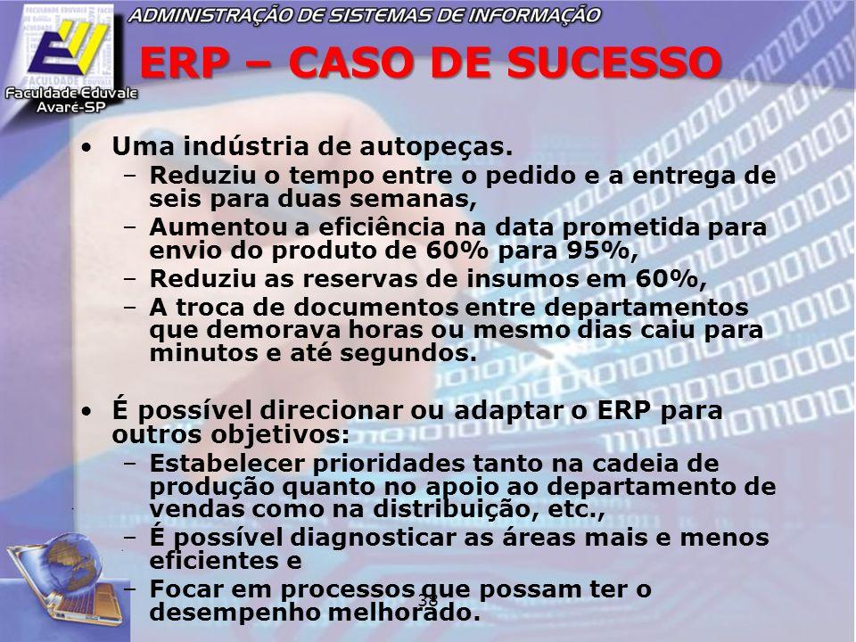 38 ERP – CASO DE SUCESSO Uma indústria de autopeças. –Reduziu o tempo entre o pedido e a entrega de seis para duas semanas, –Aumentou a eficiência na