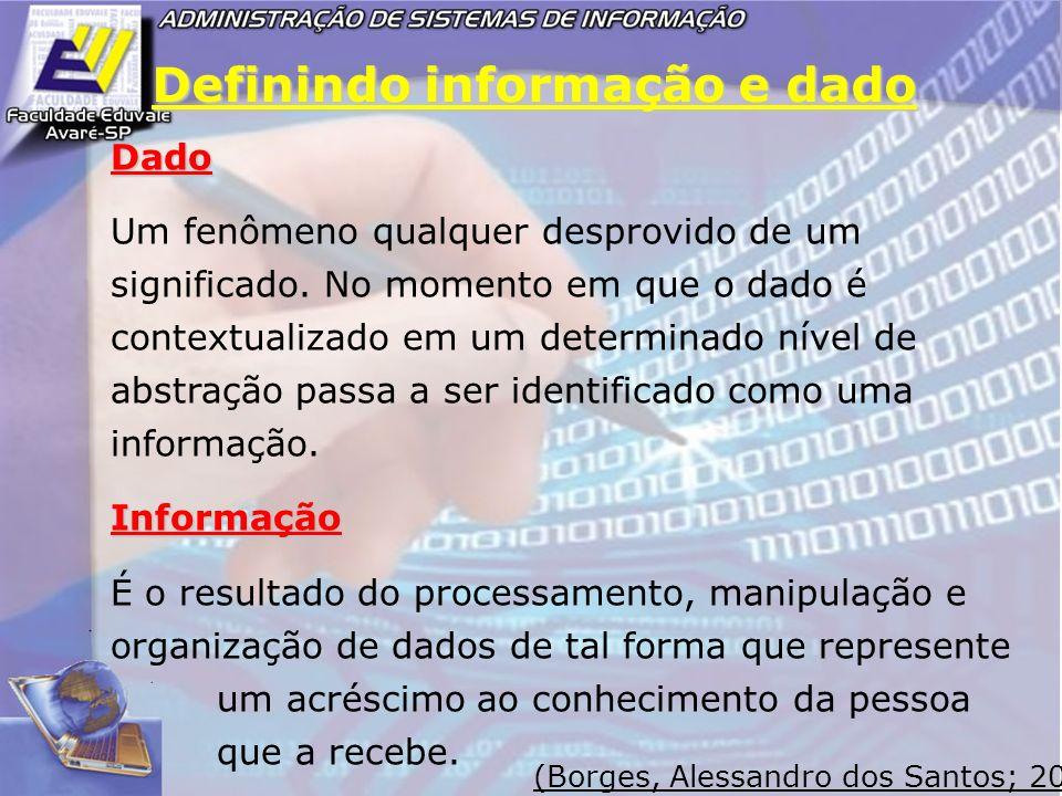Definindo informação e dado Dado Um fenômeno qualquer desprovido de um significado. No momento em que o dado é contextualizado em um determinado nível
