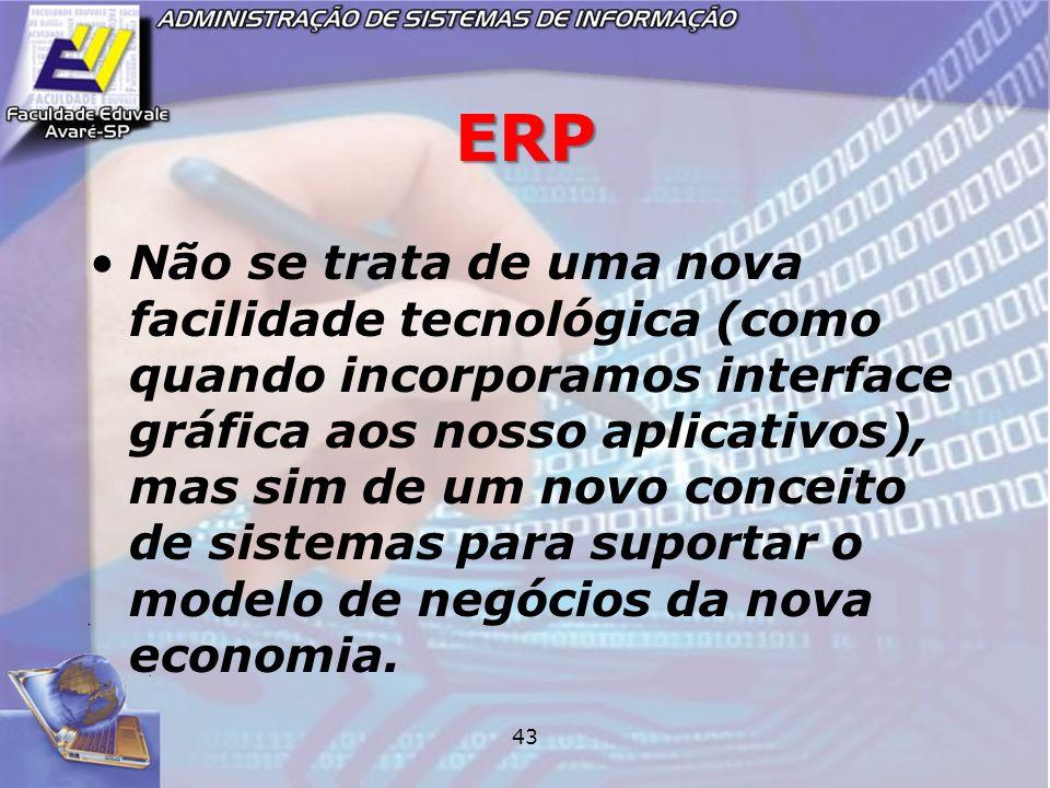 43 ERP Não se trata de uma nova facilidade tecnológica (como quando incorporamos interface gráfica aos nosso aplicativos), mas sim de um novo conceito