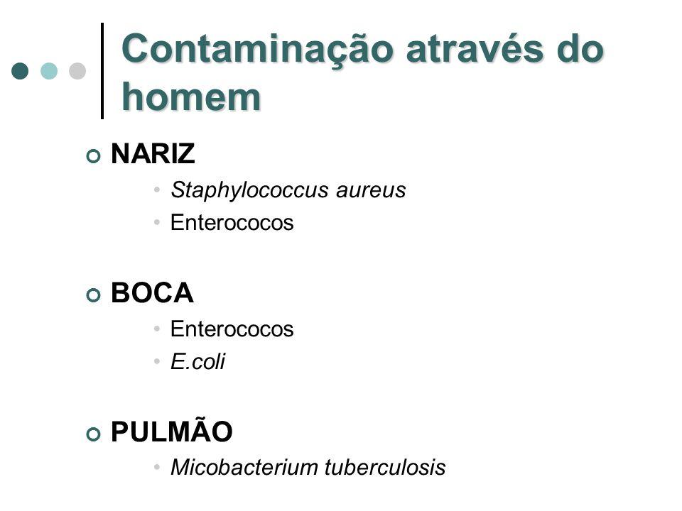 Contaminação através do homem NARIZ Staphylococcus aureus Enterococos BOCA Enterococos E.coli PULMÃO Micobacterium tuberculosis