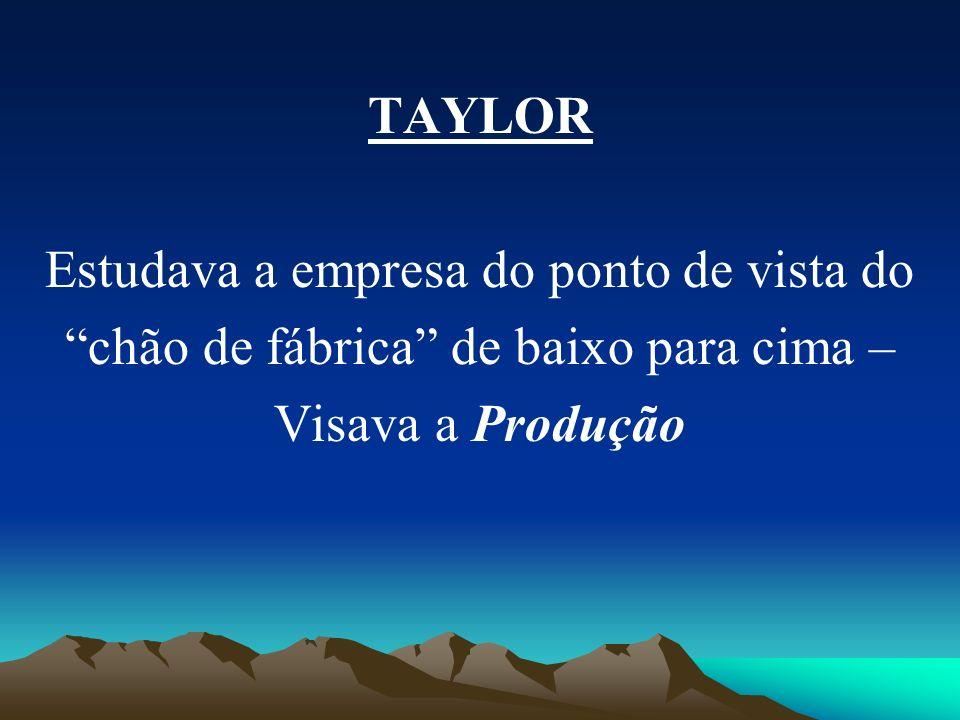 TAYLOR Estudava a empresa do ponto de vista do chão de fábrica de baixo para cima – Visava a Produção