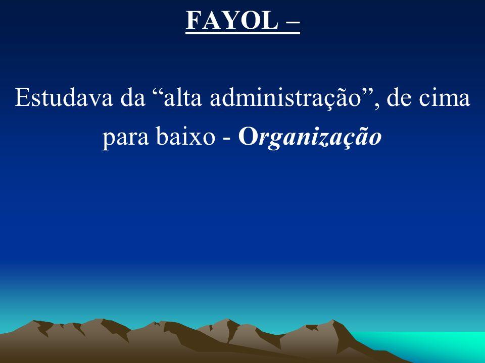 FAYOL – Estudava da alta administração, de cima para baixo - Organização