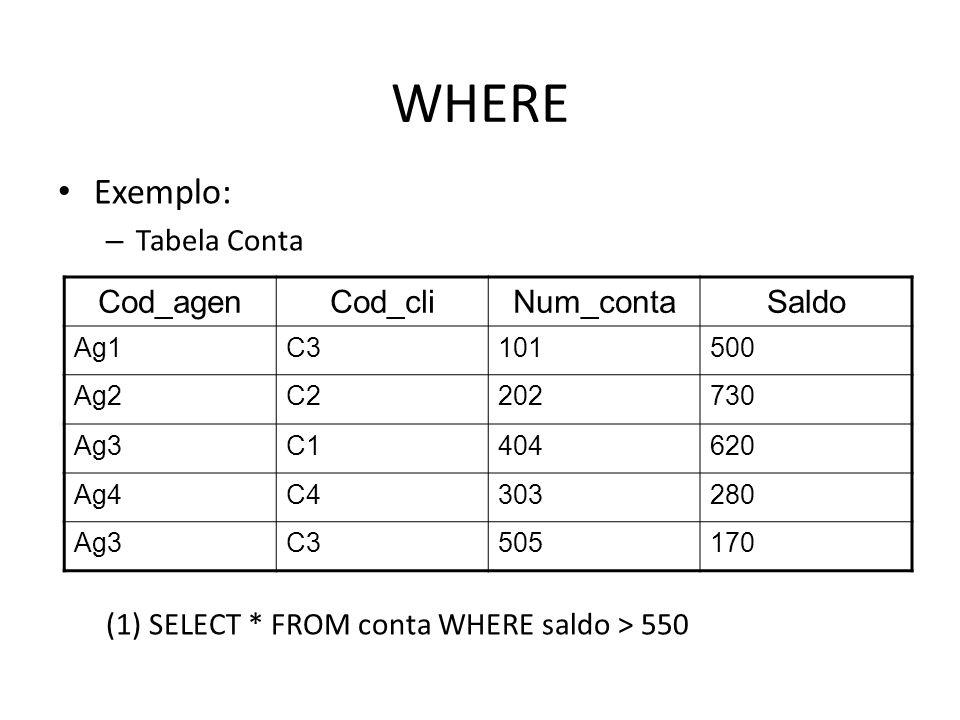 WHERE Exemplo: – Tabela Conta (1) SELECT * FROM conta WHERE saldo > 550 Cod_agenCod_cliNum_contaSaldo Ag1C3101500 Ag2C2202730 Ag3C1404620 Ag4C4303280