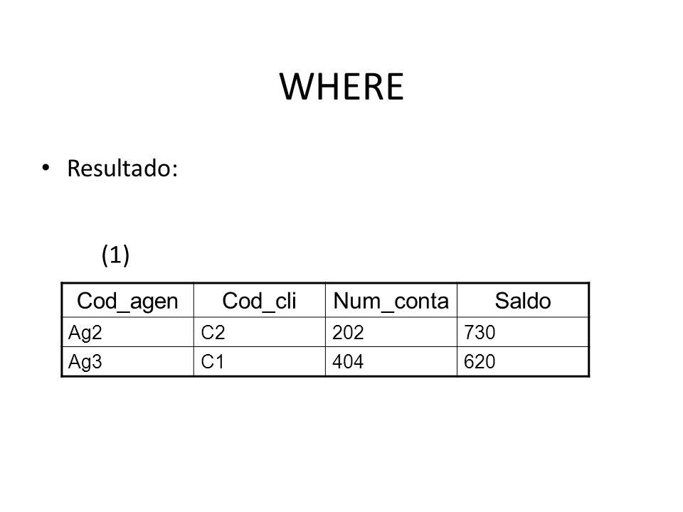 Exercícios – SQL - Select Cod_cliNome_cliRuaCidadeIdade C1JoãoRua X1Botucatu34 C2RobertoRua N2Pardinho29 C3MariaRua V5Pardinho42 C4CarlosRua T8Botucatu45 C5AnaRua X1Botucatu27 Tabela Cliente Cod_agenNome_agenGerenteCidade Ag1CentroJairBotucatu Ag2PrincipalRaulPardinho Ag3EspecialValeriaPardinho Ag4BairroValeriaBotucatu Tabela Agencia